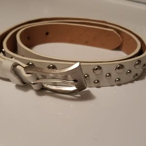 White Studed Leather Express Belt Size M Womens